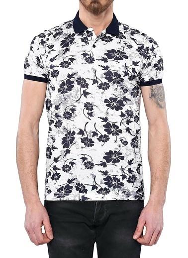 Wessi Polo Yaka Çiçek Desenli T-Shirt Krem